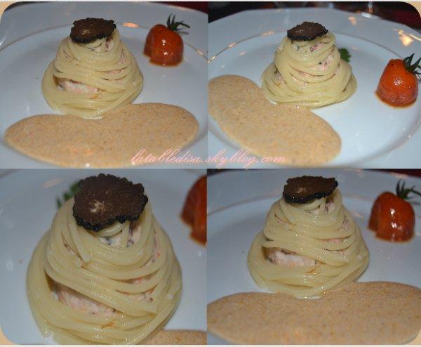 Turban de langouste truffé en spaghetti