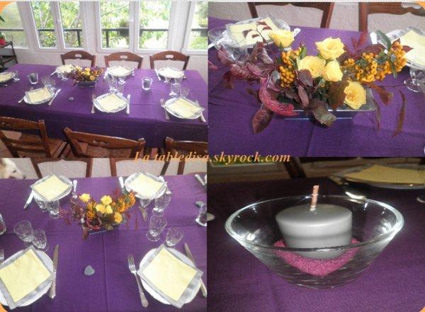 soirée raclette pour un anniversaire , la déco violette