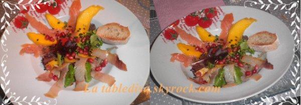 salade de poissons fumés , mangue et grenade