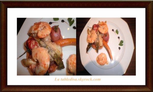 Tartelettes aux gambas et légumes nouveaux