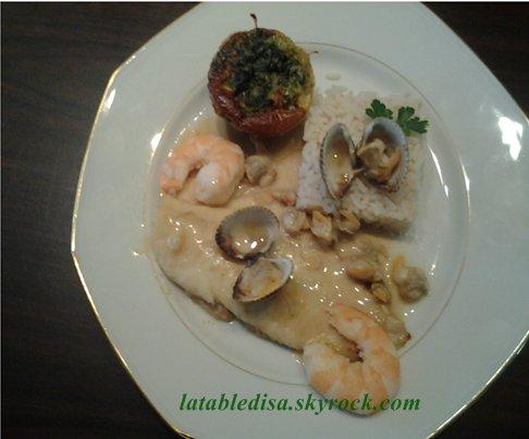 Turbot sauce coques-crevettes et flan d'épinard