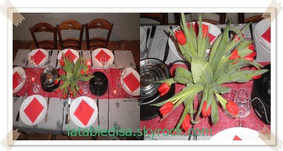 Soirée fondue :la déco en rouge et gris