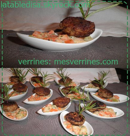 Pour un apéro dinatoire :Boulettes boeuf-agneau , petits légumes crémés au paprika