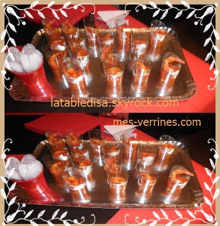 soirée asiatique : l'apéro :les crevettes aigre douce (partenaire mes-verrines.com)
