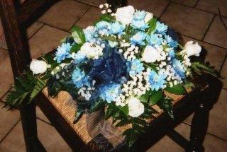 2 arrangement vue de tous c t s pour bapt me cr ations florales l 39 aigle bleu. Black Bedroom Furniture Sets. Home Design Ideas