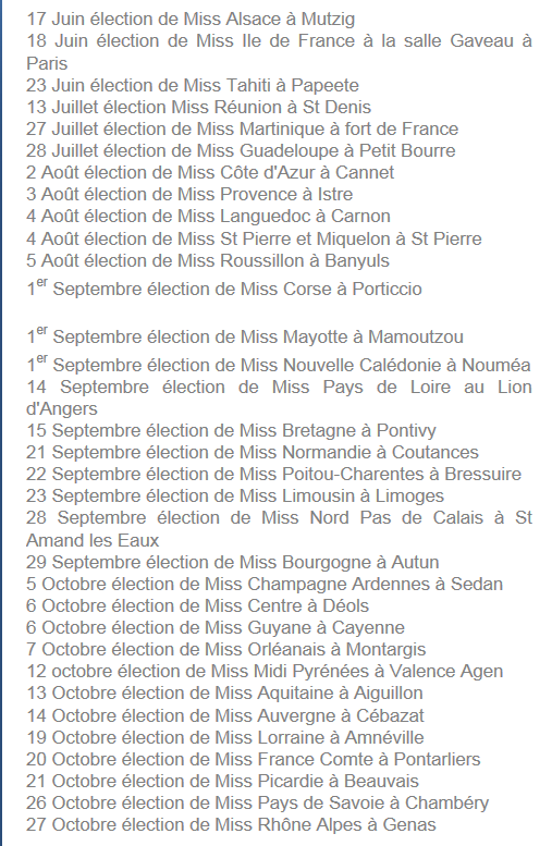 Elections régionales qualificatives pour Miss France 2013