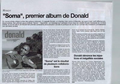 """Sortie du 1er Album """"soma"""" de DONALD alias Saïd-Ali  Insa"""