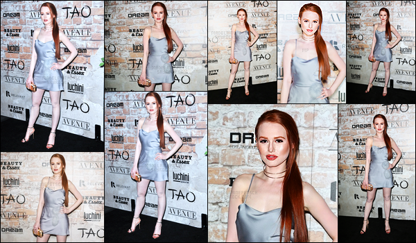 . 16.03.17 - Madelaine Petsch était présente sur le red carpet de la soirée «TAO Group block» dansLos Angeles ! C'est dans une magnifique petite robe argentée que notre jolie rousse à faire fureur lors de cette soirée. Un beau top pour Madelaine. .