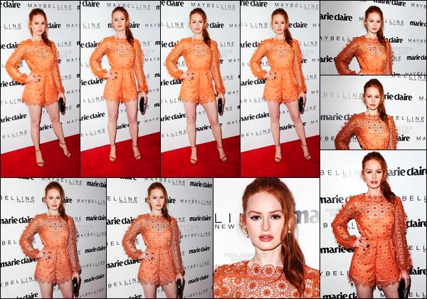 . 21.04.17 - Madelaine Petsch s'est rendue à l'événementFresh Faces organisé par«Marie Claire» à West Hollywood Madelaine nous offre une sublime robe orange, qui lui va à ravir, un très beau top, Camila Mendes et Lili y étaient aussi présentes, un top  .