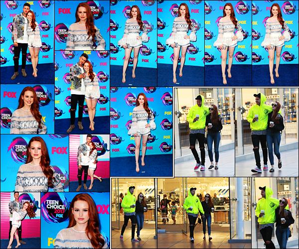 . 13.08.17 - Madelaine Petsch, était comme prévue à la cérémonie des« Teen Choice Awards» dans Los Angeles. (CA) La belle rousse était en compagnie de son charmant boyfriend sur le tapis de la cérémonie c'est un top pour Mad. Le 14 elle était dans LA .