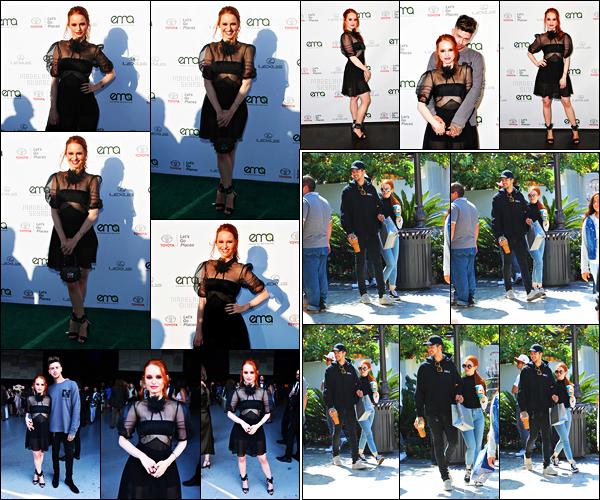 . 23.09.17 - Madelaine Petschs'est rendue aux «Environmental Media Awards» avec Travis, dansSanta Monica ! J'adore la tenue de Madelaine pour cet évent, elle est sublime ! Gros top. Le même jour, mais un peu plus tôt elle était avec Travis à LA .