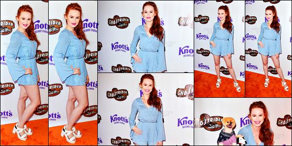 . 04.06.16 - Madelaine Petschs'est rendue au «GhostRider Reopening» ayant lieu à la Knott's Berry Farm'▬'de LA! Toute mignonne Madelaine Petsch s'est rendue à la Knitt's Berry Farm de Los Angeles. J'adore sa tenue bleue qui lui va à ravir, un top.. .
