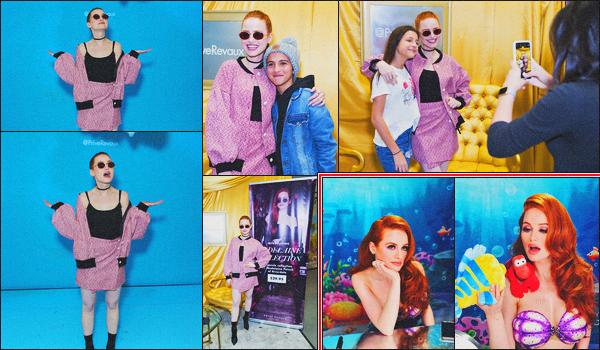 . 06.04.18 - Madelaine Petschs'est rendue à unmeeting pour promouvoir sa collection pourPrive Revaux ''▬''àNYC ! La belle rousse a rencontrée de nombreux fans présent lors de ce meeting, niveau tenue c'est un top. Deux clichés d'un tuto makup de M .