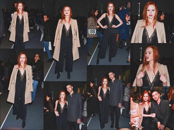 . 10.02.18 - Madelaine Petschs'est rendue au défilé «Jonathan Simkhai » 'durant la Fashion Week de''▬''New York ! Notre belle rousse, en compagnie de Travis a été photographiée assistant au défilé, ayant lieu dans New York ! Un top cette tenue, avis ? .