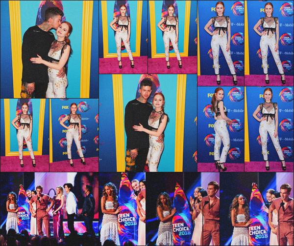 . 12.08.18 - Madelaine Petschs'est rendue à la cérémonie des« Teen Choice Awards » 'dans '  ▬'  Inglewood, en Calif. Nous retrouvons Madelaine en compagnie de son petit ami Travis Mills lors des Teen Choice Awards, un top. Le casting en a remporté un.. .