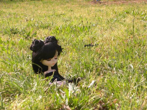 Séance photo de Kim dans la pelouse!