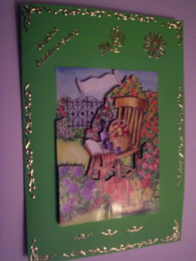 carte anniversaire fleurs n°4 (VENDU)