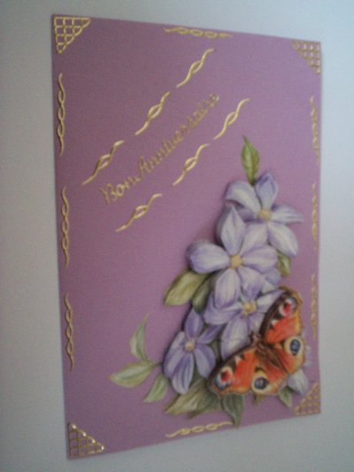 carte anniversaire fleurs n°12 (VENDU)