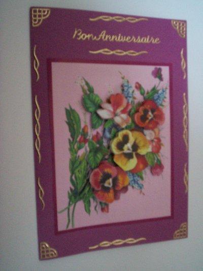 carte anniversaire fleurs  n°14 (DISPONIBLE)