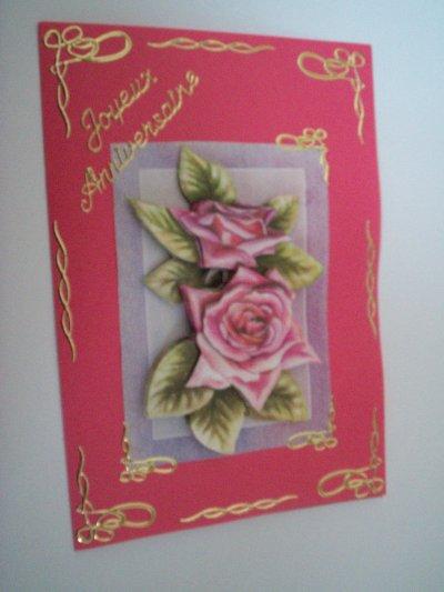 carte anniversaire fleurs n°23 (VENDU)
