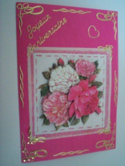 carte anniversaire fleurs n°24 (VENDU)