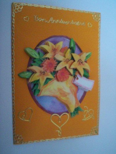 carte anniversaire fleurs n°27 (VENDU)