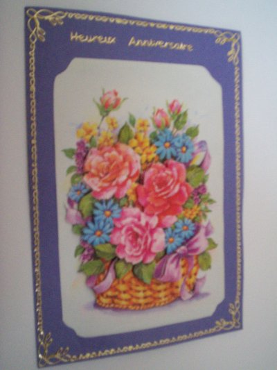 carte anniversaire fleurs n°28 (VENDU)