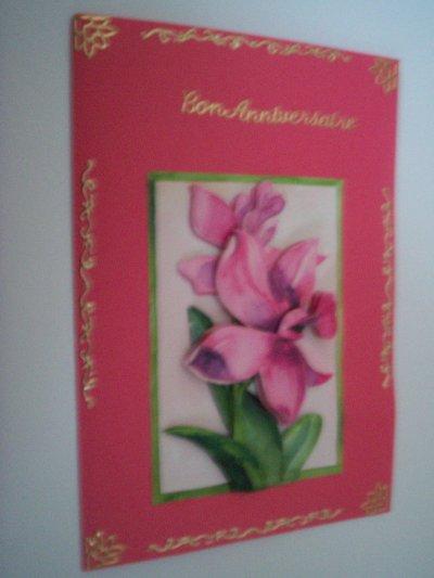 carte anniversaire fleurs n°29 (VENDU)