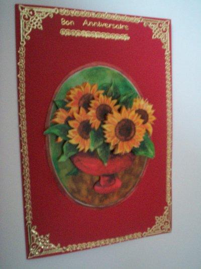 carte anniversaire fleurs n°31 (VENDU)