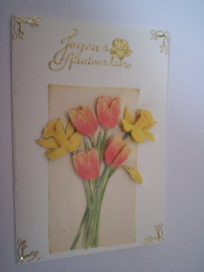 carte anniversaire fleurs n°33 (VENDU)