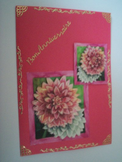 carte anniversaire fleurs n°35 (VENDU)