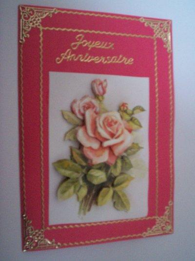 carte anniversaire fleurs n°37 (VENDU)