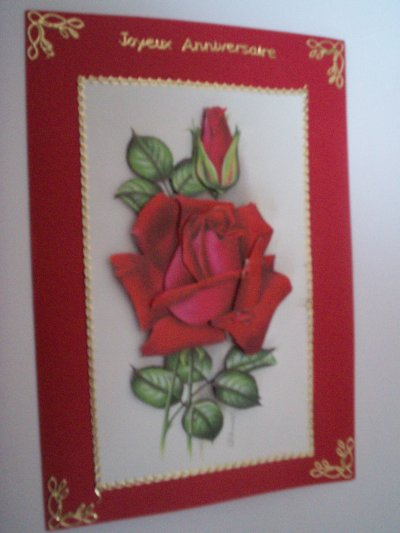 carte anniversaire fleurs n°38 (VENDU)
