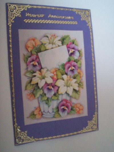 carte anniversaire fleurs n°39 (VENDU)
