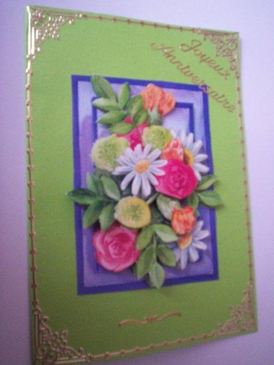 carte anniversaire fleurs n°41  (VENDU)