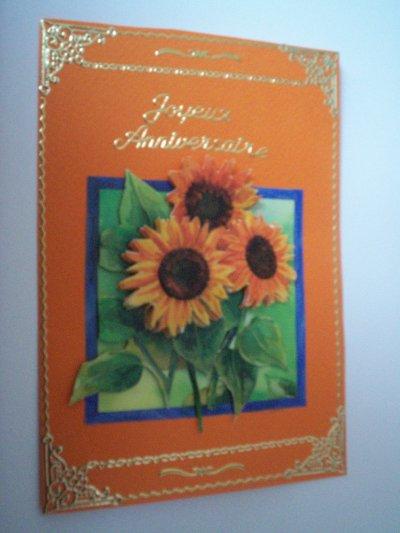 carte anniversaire fleurs n°43 (VENDU)