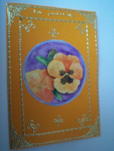 carte anniversaire fleurs n°44 (VENDU)