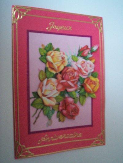 carte anniversaire fleurs n°45 (VENDU)