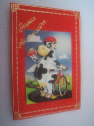 carte anniversaire vache n°2 (VENDU)