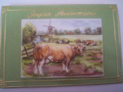 carte anniversaire vache n°4 (VENDU)