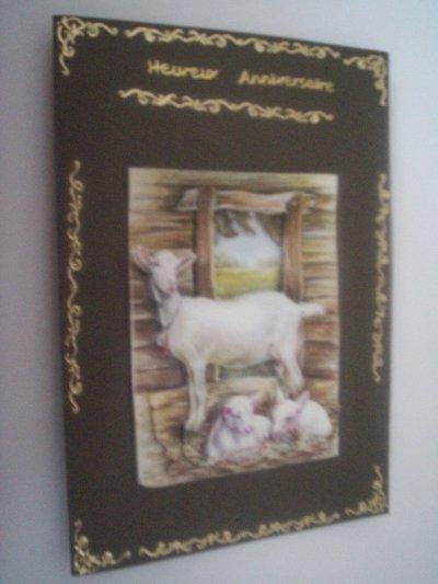 carte anniversaire chevre n°2 (VENDU)