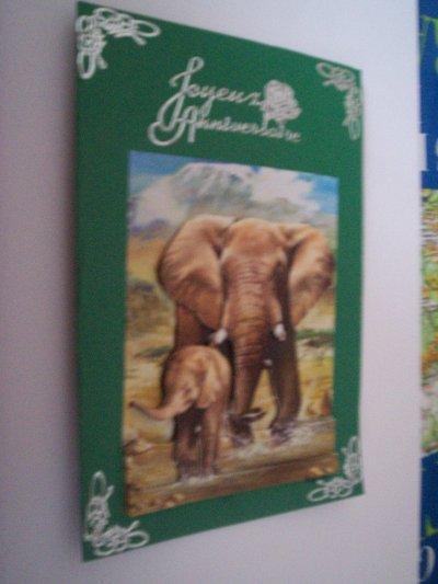 carte anniversaire elephant n°2 (VENDU)