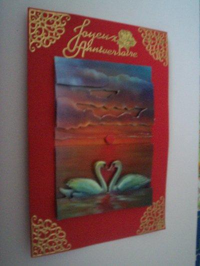 carte anniversaire cygne n°3 (VENDU)