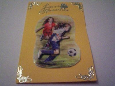 carte anniversaire foot n°8 ( fille) (VENDU)