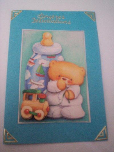 cartes bébé : sinceres felicitations n°7 (DISPONIBLE)