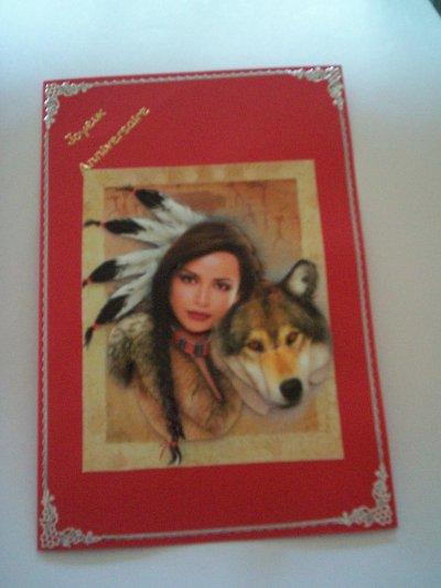 carte anniversaire indienne avec loup n°1 (DISPONIBLE)