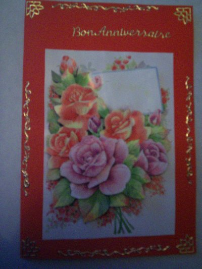 carte anniversaire fleur n°63 (VENDU)