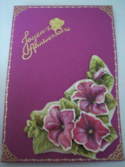 carte anniversaire fleurs n°67(DISPONIBLE)