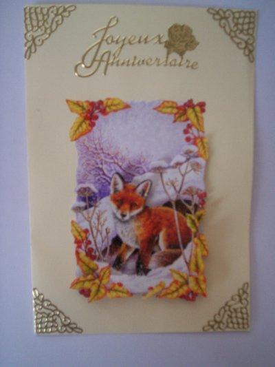 carte anniversaire renard n° 6 (DISPONIBLE)