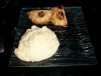 Purée au fromage a raclette et crepe au jambon